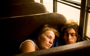 "EATON RAPIDS, MI - JULY 26: Tiffany Kleinik-Jones, 15 from Dixon, Illinois rests her head on the shoulder of her boyfriend of 2 months, John Davenport, 15, from Dixon, Illinois on a bus to a youth group outing at the local skating rink during Eaton Rapids Campmeeting on July 26, 2005 in Eaton Rapids, Michigan. Davenport has been attending the campmeeting ever since he was born. The mission of Eaton Rapids Campmeeting ""shall be the conversion of sinners and the promotion of Scriptural Holiness."" Every summer since 1885 Eaton Rapids Campmeeting has taken place in a little town outside of Lansing, Michigan. Many of the families present have been attending for generations. (Photo by Jeff Hutchens/Getty Images)"